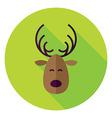 Flat Design Christmas Deer Circle Icon vector image