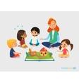 Female teacher tells fairy tales using pop-up book vector image