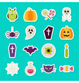 Flat Halloween Party Objects Stickers Set vector image