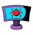 laptop is infected by malware icon cartoon vector image