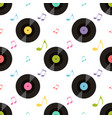 pattern with colorful music notes and vinil vector image