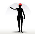 pizza girl silhouette with a red hat vector image