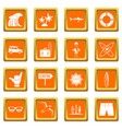 surfing icons set orange vector image