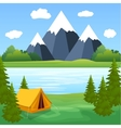 Tent Camping Tourist Forest Mountain Expedition vector image