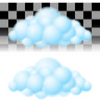 two light clouds on white and transparent vector image