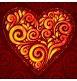 Red shining heart on ornate background vector image vector image