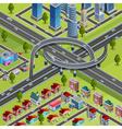 City Roads Junction Interchange Isometric Poster vector image