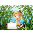 A rainforest with a young girl holding an empty vector image vector image