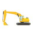 yellow excavator heavy industrial machinery vector image