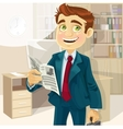 Business man in morning office read a summary of vector image vector image