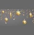 christmas seamless border banner template ball vector image