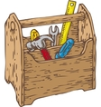 Retro Wooden Toolbox with Tools vector image