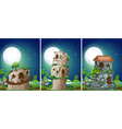 Three scenes of stonehouse at night vector image