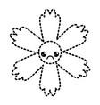 cute sticker flower kawaii cartoon vector image