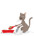 funny cat cleaning up his litter box vector image