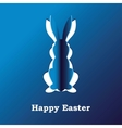 Paper rabbit on a blue background vector image