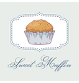 Pastry shop label with muffin vector image