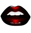 red lips isolated on black background vector image