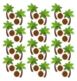 Coconut fruits and palm trees background design vector image vector image