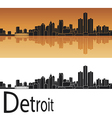 Detroit skyline in orange background vector image