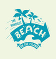 the windiest beach on the island artistic design vector image