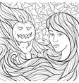 Vampire Girl With a Pumpkin vector image