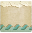 Vintage background with waves and clouds vector image