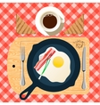 Frying pan of breakfast with fried eggs bacon vector image