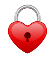 red shiny heart lock shape vector image