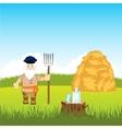 Man stores up hay vector image