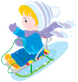 Child sleighing vector image