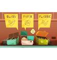 Garbage Waste Sorting Cartoon Icons Set vector image