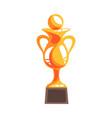 golden winner cup with handball ball cartoon vector image