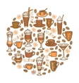hand drawn coffee beverages template vector image