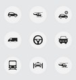 set of 9 editable transportation icons includes vector image