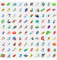 100 search icons set isometric 3d style vector image
