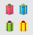four unopened gift boxes with ribbons and bows vector image vector image