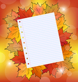 Colorful autumn maple leaves with note paper vector image