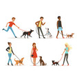 animal friendship happy people walking with funny vector image