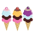 Set of flat ice cream cones Different flavors and vector image