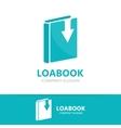Book and down arrow logo concept vector image
