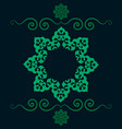 ethnic floral seamless pattern in green color vector image