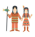 indians characters man and woman temple ornament vector image