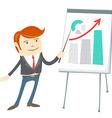 Office man presentating a graph on flipchart vector image