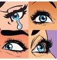 Set of beautiful woman eye makeup and beauty vector image