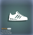 Sneakers icon On the blue-green abstract vector image