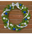 Christmas Wreath on Wooden Board 3 vector image