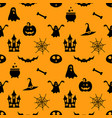 seamless pattern with black halloween icons vector image