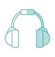 blue shading silhouette of headset stereo sound vector image