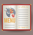 menu elite restaurant chef cook serving food 3d vector image